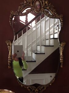 Hand Painted Antique French Mirror