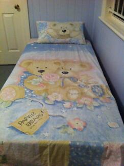 Paper Bears Single Bed Quilt Cover, Pillowcase & Curtains Camp Hill Brisbane South East Preview