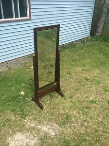 Antique solid oak wooden dressing mirror