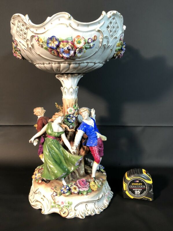 Early 20th Century Von Schierholz Germany Centerpiece/Compote Figures And Flower
