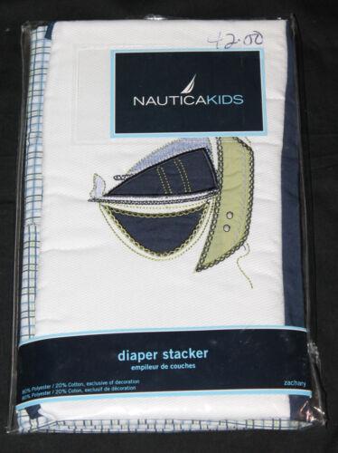 NauticaKids Zachary Diaper Stacker Blue Green Boats Plaid new