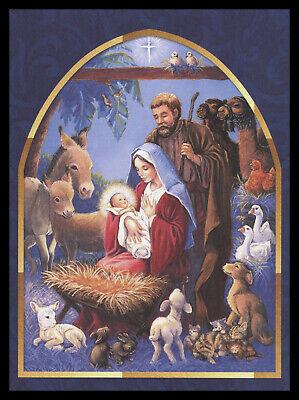 622-MSA Cat Dog Lamb Nativity Rabbit 'Religious' Christmas Greeting Card NEW ()