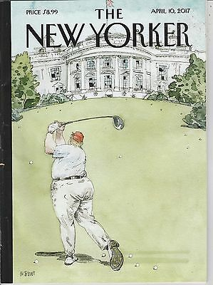 APRIL 10 2017 NEW YORKER magazine DONALD TRUMP playing golf outside WHITE HOUSE