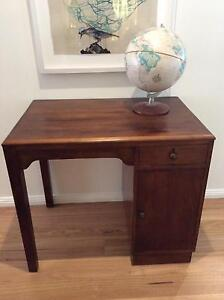 VINTAGE DECO SOLID TIMBER SMALL DESK W/ DRAWER & CUPBOARD Seaforth Manly Area Preview
