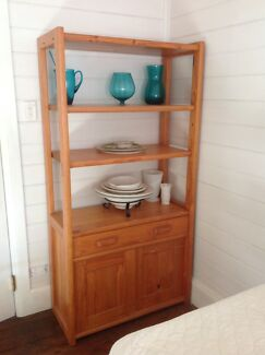 Retro Pine Cupboard And Display Cabinet