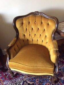 Vintage sofa and 2 chairs - yellow velour