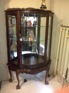 Antique china Cabinet with feature curved glass door