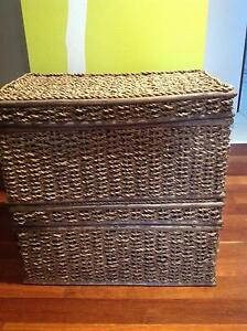 Two large woven rattan storage boxes, natural colour. Downer North Canberra Preview