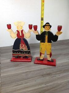 "2 vintage ikea scandinavian figures candle holders - 11.5"" tall"