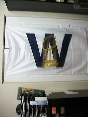 Chicago Cubs 3X5  W  Flag With World Series Trophy