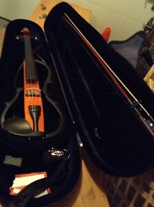ELECTRIC VIOLIN WITH CASE, BOW, RESIN