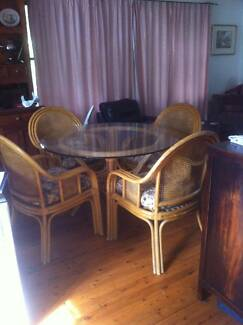 CANE AND GLASS DINING TABLE WITH  6 CHAIRS Berowra Hornsby Area Preview