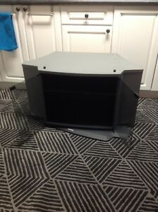 Black/grey tv stand with glass doors- unit swivels