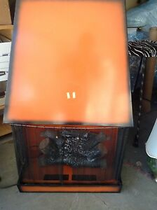 Vintage hooded fireplace orange retro mod accent