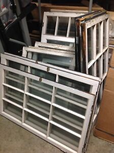 LOTS OF ANTIQUE WOODEN GLASS AND WINDOWS
