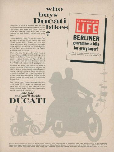 1965 Ducati Vintage Motorcycle Ad Berliner Advertising in Life Magazine Bikes