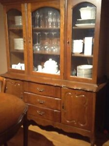 TABLE, 4 CHAIRS, AND BUFFET HUTCH