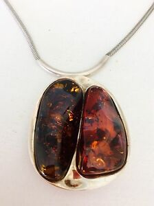 Baltic Sea amber pendant set in silver with silver chain Broadbeach Gold Coast City Preview