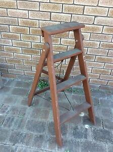 Mid century vintage wooden A-frame ladder 99.5cm high Doubleview Stirling Area Preview