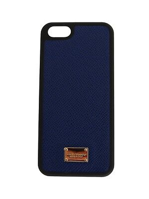 NEW $150 DOLCE & GABBANA Phone Case Skin Blue Gold Logo Leather 12,5x6cm iPhone5