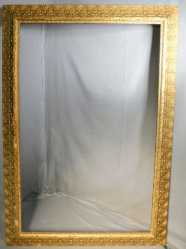 Antique BIG WIDE Victorian Aesthetic Gilt Gesso Picture Frame 39x25 OLD SURFACE