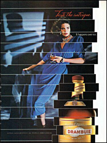 1985 Drambuie liqueur taste the intrigue woman ice vintage photo Print Ad ads15
