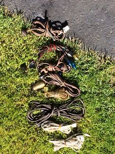 Seven extension cords and Christmas lights