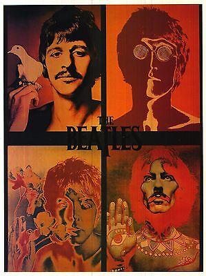 VINTAGE POSTER~Beatles Psychedelic 4 Faces 1960's John Lennon Ringo Paul George~