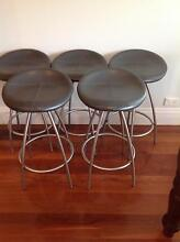 Stools, stainless and dark grey leather Haberfield Ashfield Area Preview