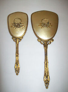 Vintage-Vanity-Dresser-Set-Hand-Mirror-Brush-Ornate-Gold-Tone-Flower-Leaves