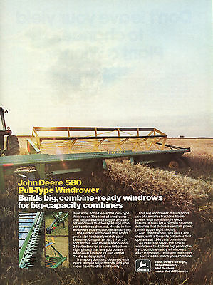 1980 John Deere 580 Tractor Pull Type Windrower Magazine Ad