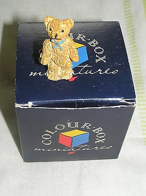 "COLOUR BOX MINIATURE TEDDY BEAR FIGURINE: ""STEVEN"": BOXED: VERY GOOD CONDITION"