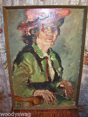 Red Hat Painting Primitive Carl Alex-von Volborth Pop Culture 60s Woman Maggie