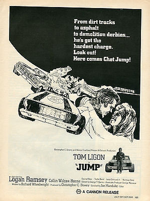 "1971 Tom Ligon is ""Jump"" Dirt Track Asphault Demo Derbie Movie Promo Print Ad"