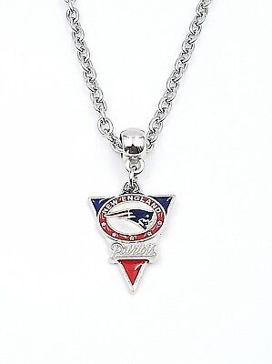 New England Patriots Nfl Pendant Logo Enameled Charm Silver Link Necklace Chain