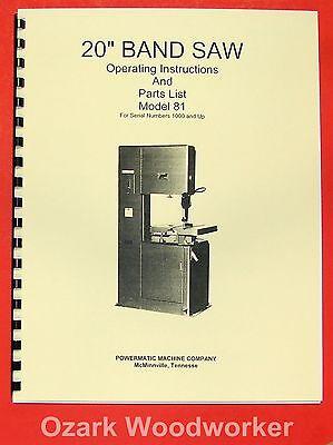 Powermatic 81 20 Band Saw Model Operatingparts Manual 0522