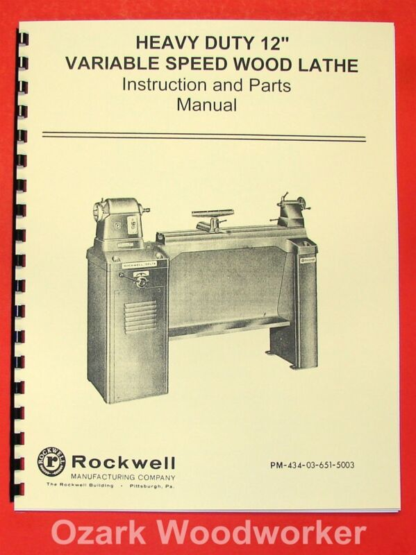 "ROCKWELL 12"" New Style Variable Wood Lathe Manual 0591"