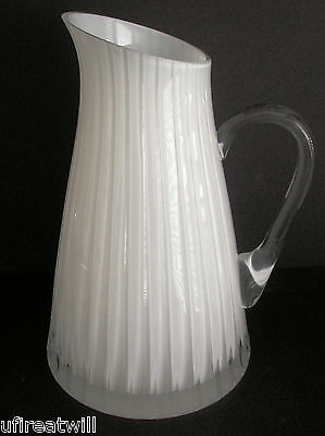 - FABERGE GLACON NUIT OPAL CASED CUT TO CLEAR CRYSTAL JUG PITCHER  SIGNED NIB