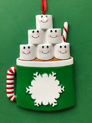 Marshmallow Family of 6 Personalized Christmas Tree Ornament
