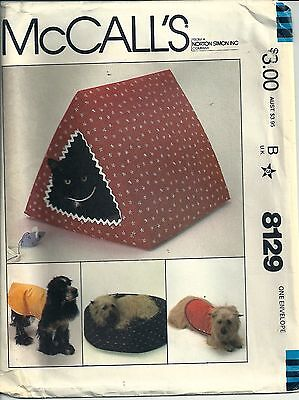 8129 McCall's Crafts Sewing Pattern Pet Bed Pet House Dog Coat Toy Mouse Uncut