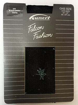 Kunert Lurex Black and Green Silver Glitter Patterned Tights S/M - - Black And Green Tights