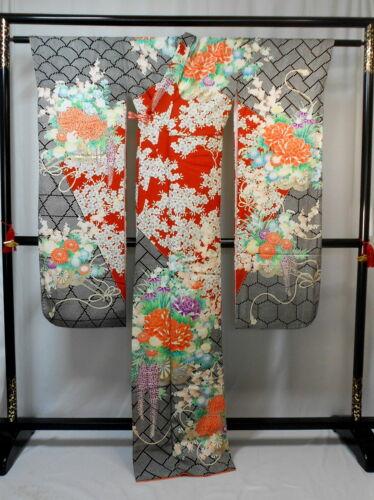 "Japanese kimono SILK""FURISODE"" long sleeves, Gold, SAKURA,Rowell,L65""..1706"