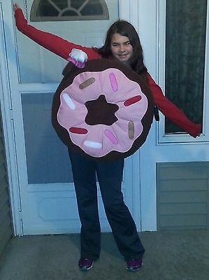 NWT GIRLS POTTERY BARN KIDS/TEEN SIZE 11-12 BROWN PINK DONUT HALLOWEEN COSTUME