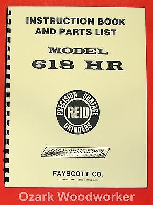 Reid 618 Hr Rollerway Surface Grinder Operator And Parts Manual 0976