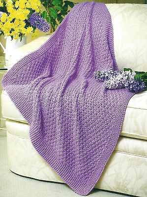 REVERSIBLE BABY  BLANKET THROW AFGHAN KNITTING PATTERN FAST KNIT (1127) for sale  United Kingdom