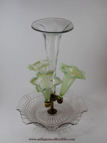 💥 Antique 5 Piece Epergne 3 Green Horns with White Opalescent Edges