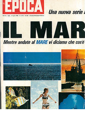 EPOCA N. 823 3 LUGLIO 1966 CALCIO MONDIALI FIGURINE GINA LOLLOBRIGIDA FERRARI