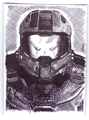 ACEO Art Sketch Card Master Chief from Halo Videogame Series - Master Chief From Halo