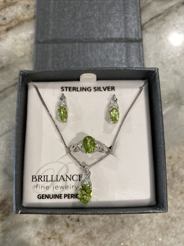 Brilliance Sterling Silver Genuine Peridot With CZ 4 Piece Set In Gift Box