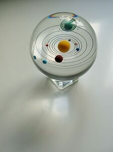Orrery Solar System In 85mm Glass Crystal Ball.Art,Desktop,Collectables,Marbles.